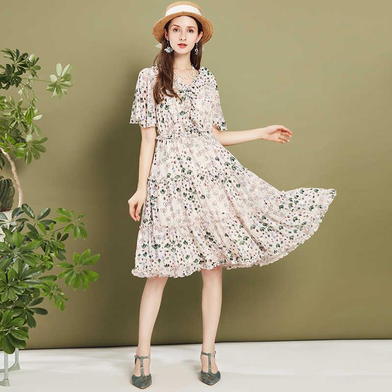 ARTKA 2020 Sommer Neue Frauen Kleid Elegante Blumen Druck Kleid Rüschen V-ausschnitt Chiffon Kleider Elastische Taille Lange Kleid LA20701C