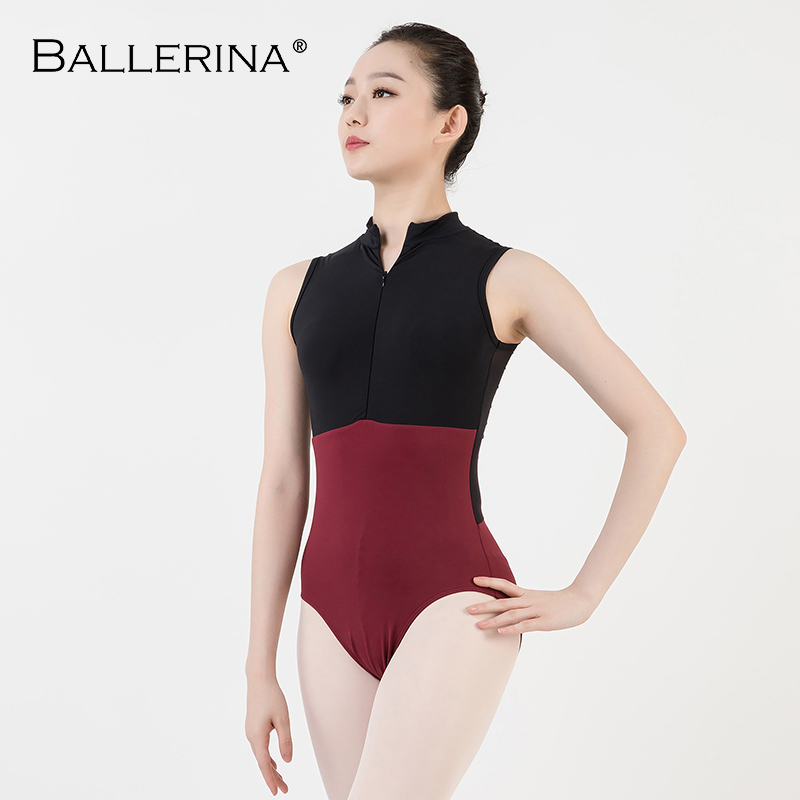 ballet dance Practice black mesh leotard women gymnastics Turtleneck Sleeveless Leotard Ballerina 5681-in Ballet from Novelty & Special Use