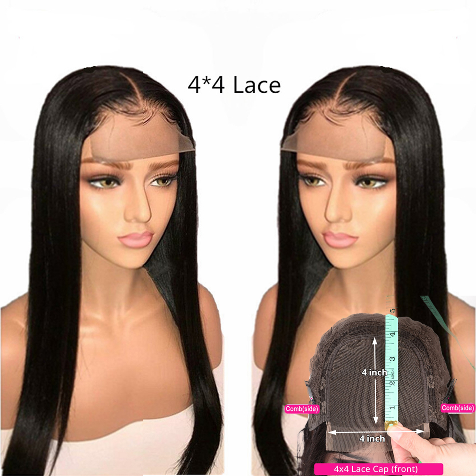 4x4 Remy Straight Lace Closure Wigs Real Human Hair Extension Near Me For Black Women With Baby Hair Pre Plucked My First Wig