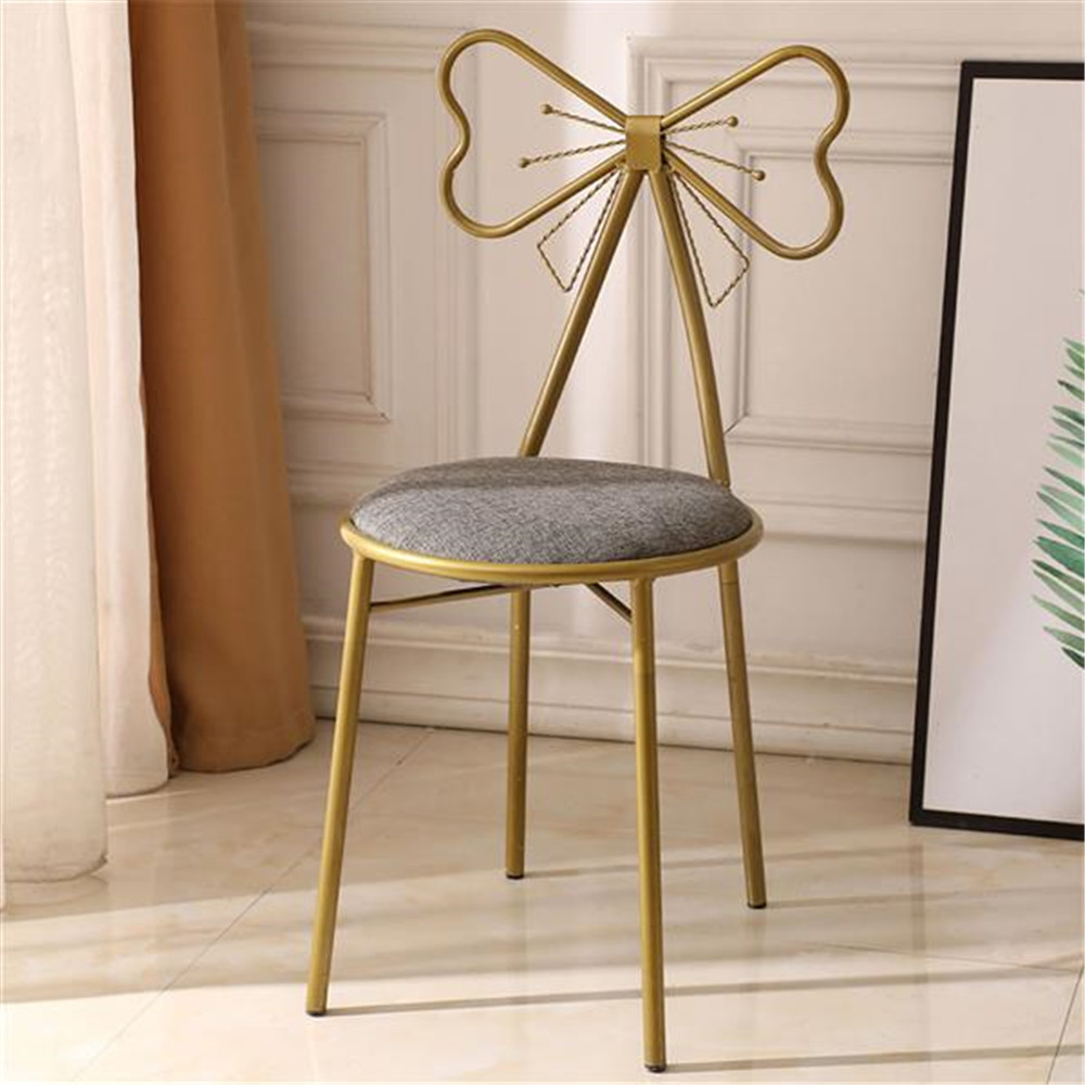 Exquisite Butterfly-shaped Backrest Makeup Stool Dressing Stool Dining Chair Makeup Chair And Lounge Chair Iron Art