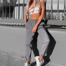 Pants Nine Pants Harem Casual Pants Hip Hop Elastic Waist Pants Reflective Ladies Fashion Beam Foot Harem 2020 cheap Polyester COTTON Full Length 578915 Solid Cargo Pants Flat REGULAR Pockets Broadcloth women clothing