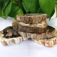 Tranche de pierre de bois brut naturelle, sous-verre de plaques de fossile de bois brut pour décorations de maison, vente en gros