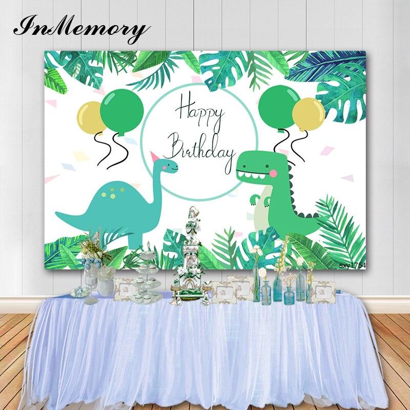 InMemory Photocall Cartoon Jungle Dinosaur Party Baby Birthday Photography Backgrounds Customized Backdrops For Photo Studio