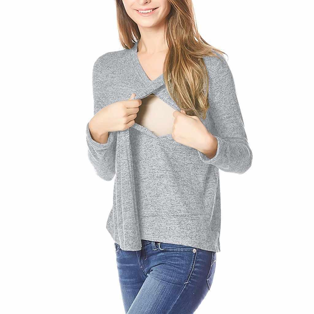 Femmes maternité chemise 2020 automne manches longues confortable blouse d'allaitement chemises pour l'allaitement ropa para embarazada