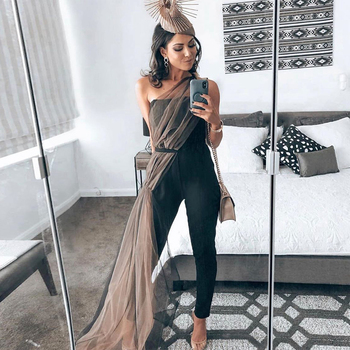 Ocstrade New Bandage Jumpsuit 2020 Women Sexy One Shoulder Black Bodycon Bandage Jumpsuit Celebrity Evening Party Club Jumpsuit фото