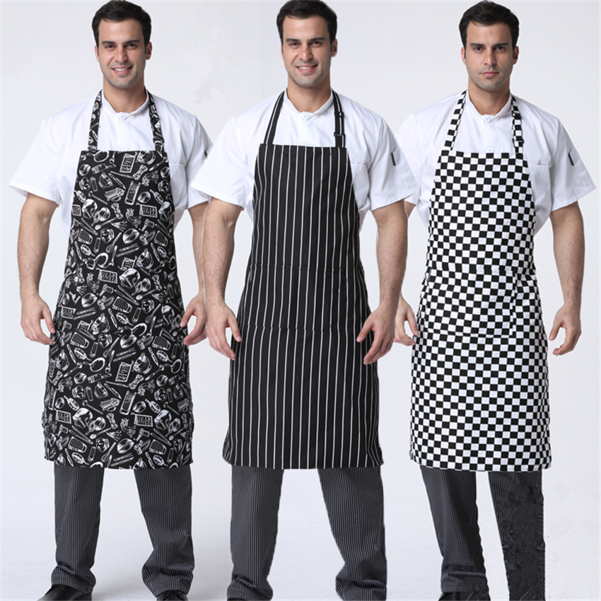 Adult Restaurant Work Wear Food Service Kitchen Cook Clothing Print Lace Mens Women Chef Sushi Uniform White Pliester Aprons