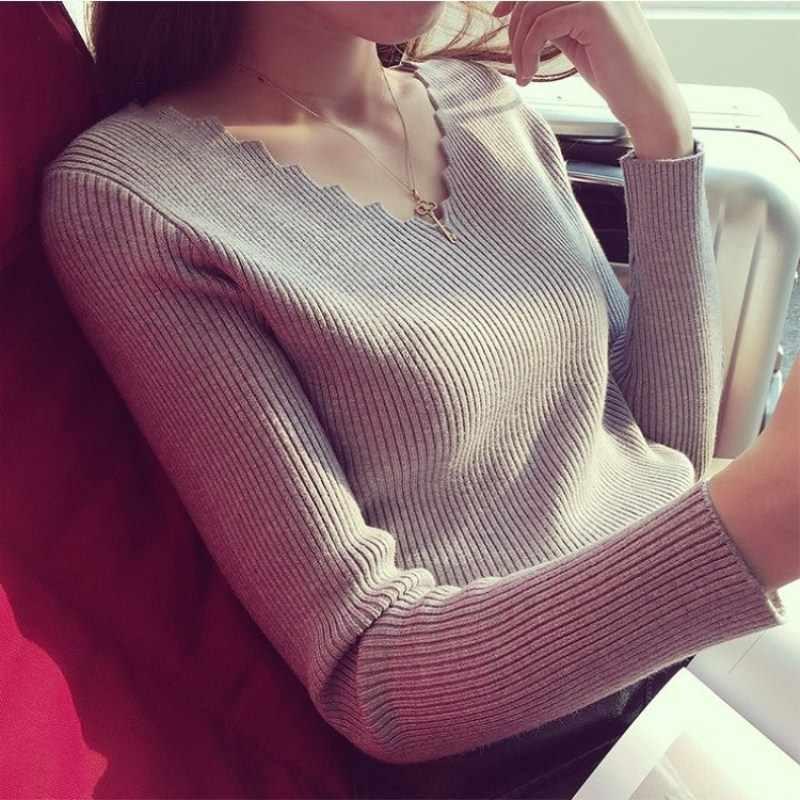 Frauen Pullover 2019 Winter Kleidung Frauen Gestrickte Pullover V-ausschnitt Pullover Frauen Feste Dünne Beiläufige Herbst Stricken Tops Damen Jumper