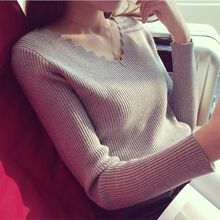 Womens Sweaters 2019 Winter Clothes Women Knitted Pullover V Neck Sweater Women Solid Slim Casual Autumn Knit Tops Ladies Jumper(China)