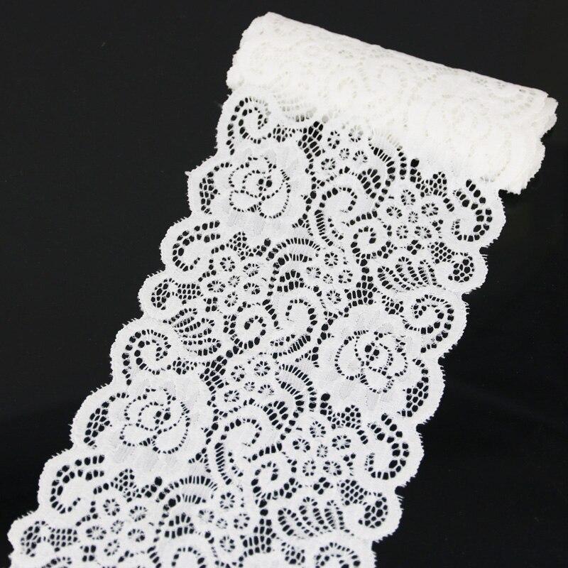 (3 metre) 15cm beyaz streç dantel kumaş fransız içi boş iç çamaşırı Trim DIY fransız iç çamaşırı şerit