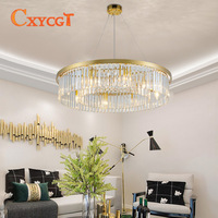 European Creative Personality Crystal Living Room Round pendant light Hall of The Simple Atmospheric Restaurant Light