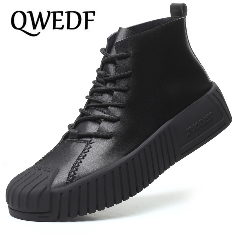QWEDF 2019 Hot Brand Men's Boots Genuine Leather Winter Autumn Shoes Motorcycle Mens Ankle Boot Oxfords Shoes X11-80