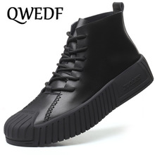 QWEDF 2019 Hot Brand Men's Boots Genuine Leather Winter Autumn Shoes Motorcycle