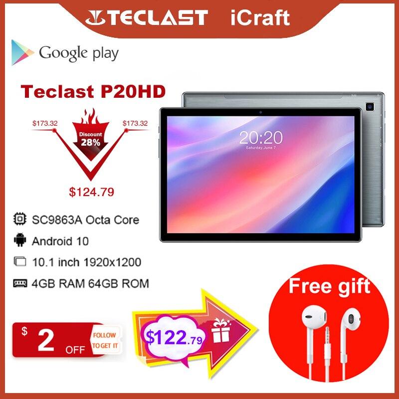 Планшет P20HD, 10,1 дюйма, Восьмиядерный, 4G, телефонные звонки, Android 10, 1920 × 1200, 4 Гб ОЗУ, 64 Гб ПЗУ, Type-C, AI-speed-up, 6000 мАч, планшетный ПК Teclast