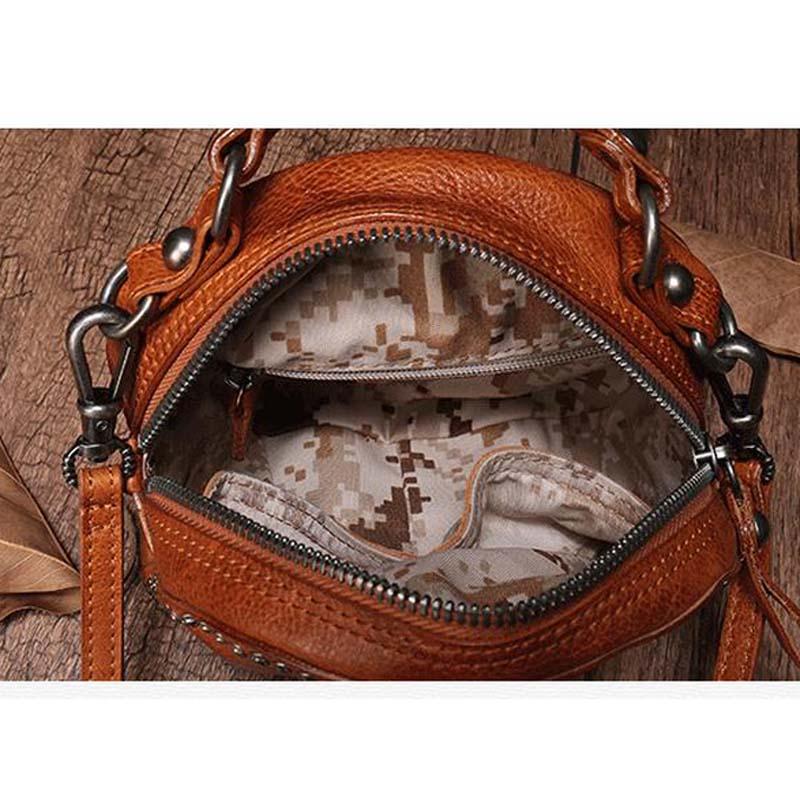 BJYL De eerste laag van lederen handtassen nieuwe lederen klinknagel pouch retro rekeningen schouder slingerde kleine ronde tas vrouwelijke - 5