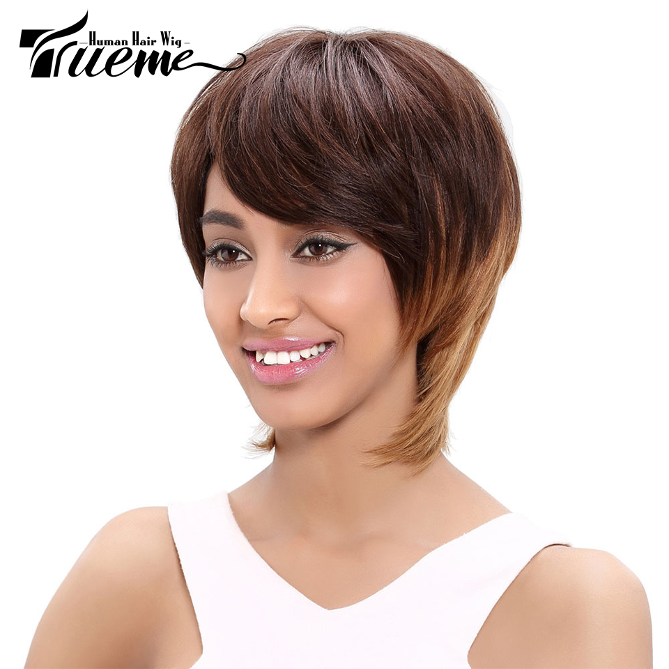 Trueme Remy Brazilian Hair Short Human Hair Wigs For Women Ombre Blond Color Short Wigs Straight Cheap Hair Full Wigs