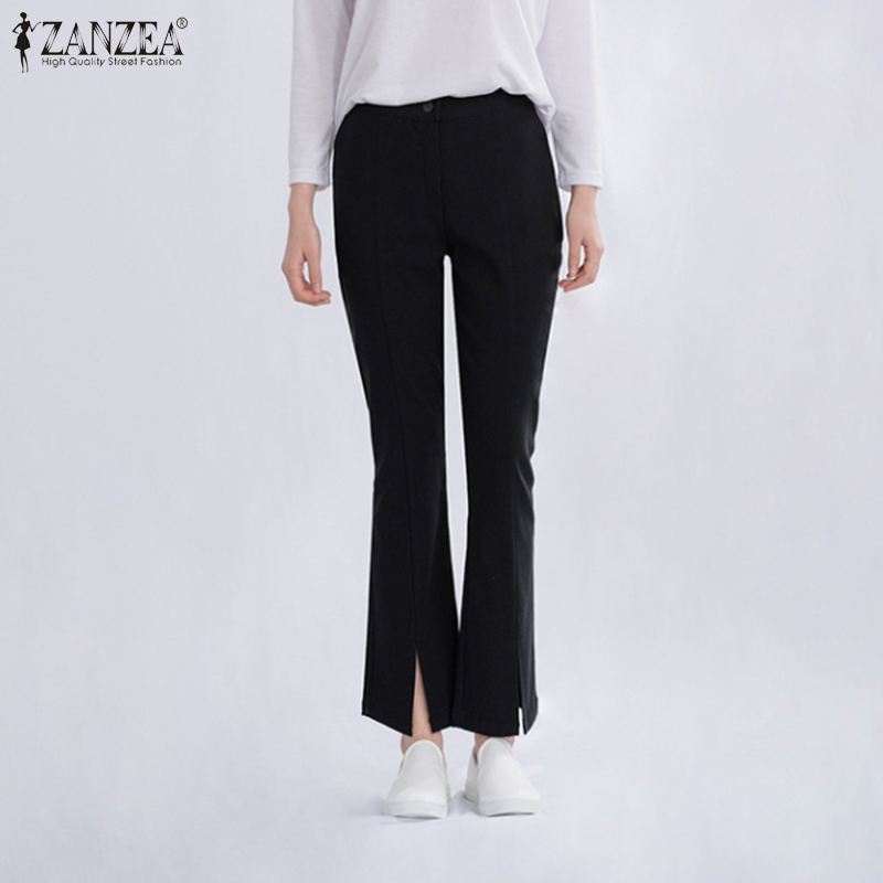 ZANZEA Women Elegant Pants 2020 Autumn Ladies High Waist Pockets Split Hem Bottoms Casual Straight Long Trousers Streetwear 7