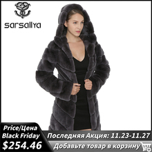 SARSALLYA Abrigo de Piel de Conejo Rex de piel de zorro Natural con capucha para mujer, chaqueta gruesa, chaleco de abrigo, ropa cálida para mujer, abrigo