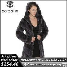 Sarsallyaレックスウサギの毛皮のコートの女性の自然キツネの毛皮のフード付きジャケット厚いコートベスト暖かい冬レディース服オーバーコート