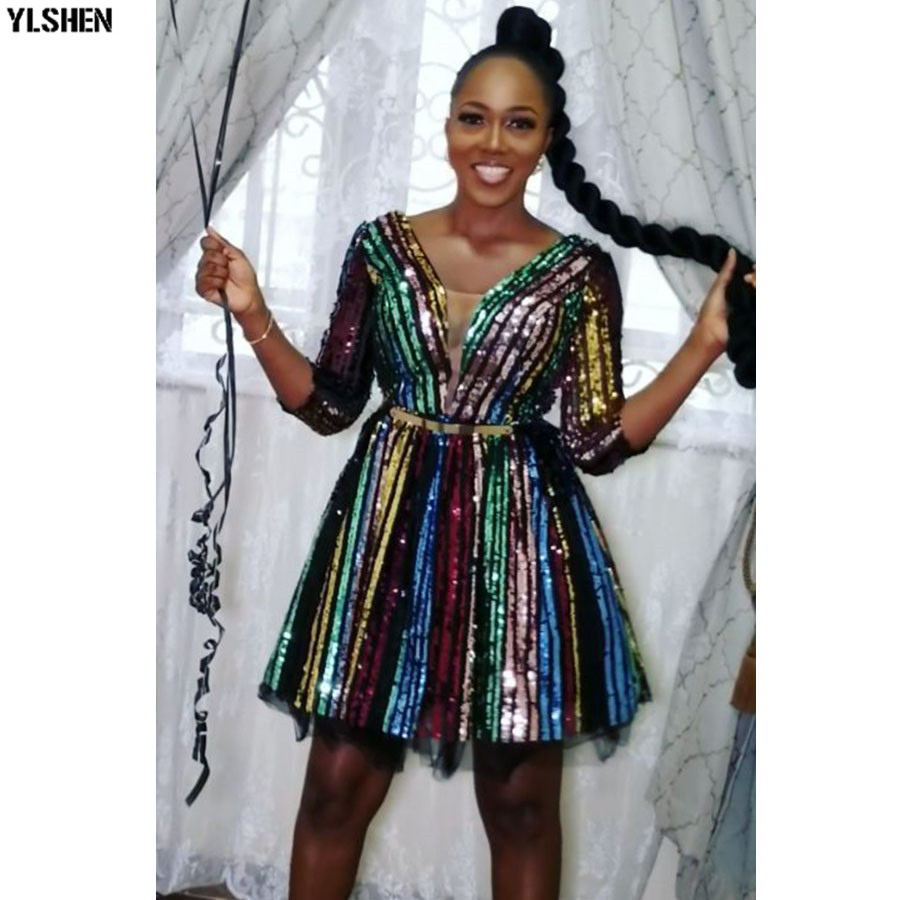 African Dresses For Women Dashiki Colorful Sequins African Dress Clothes Robe Africaine Femme 2019 Party Ankara Africa Clothing