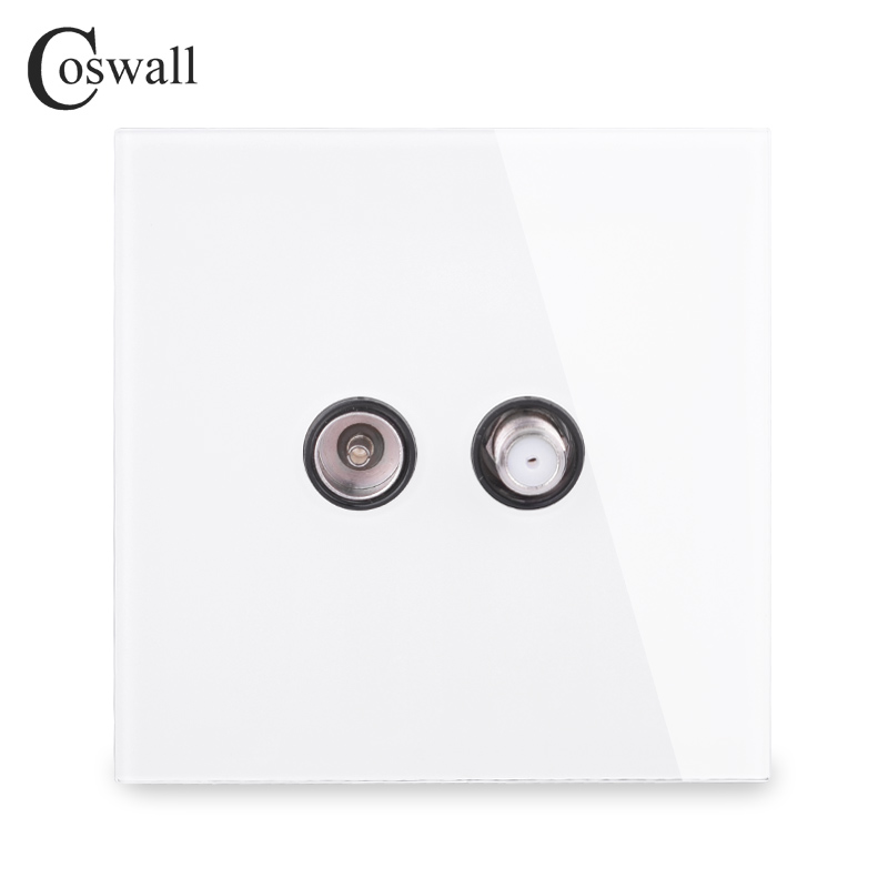 COSWALL Crystal Tempered Glass Panel Wall Satellite Socket With Female TV Outlet Black White Gold Grey R11 Series