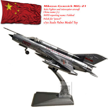 WLTK 1/72 Scale Military Model Toys PLAAF MiG-21 Fishbed Fighter Diecast Metal Plane Model Toy For Collection,Gift,Kids wltk 1 144 scale military model toys ty 95 tu 95 bear bomber diecast metal plane model toy for collection gift kids