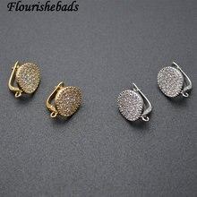 10 шт. круглые металлические серьги в форме монеты, крючки, циркониевые бусины, проложенные ювелирные изделия