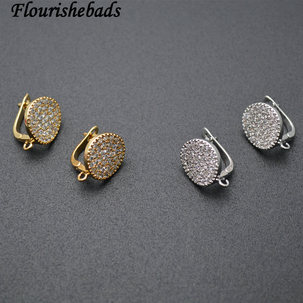 10pc Round Coin Shape Metal Earring Hooks Zircon Beads Paved Jewelry Findings
