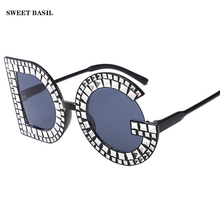 SWEET BASIL Oversized DG Letter Frame Brand Imitation Diamond Sunglasses Women Pink Red Black Sun Glasses Charms Big