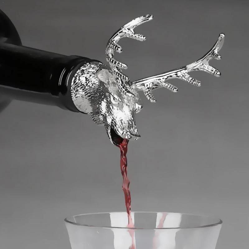 Unique Zinc Alloy Deer Wine Pourer Head Wine Bottle Stoppers Wine Aerators Gifts