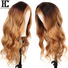 Perruque Lace Front Wig Body Wave sans colle naturelle Remy brésilienne, cheveux humains, pre-plucked, blond miel 4/27 ombré, 150% HC