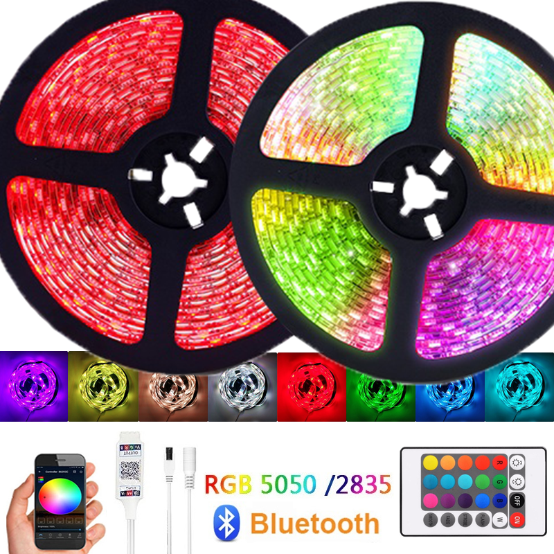 Bluetooth luces LED Strip Light 12V <font><b>5050</b></font> <font><b>SMD</b></font> 2835 Diode Tape <font><b>RGB</b></font> LED Ribbon Flexible Lights With Waterproof Bluetooth control image