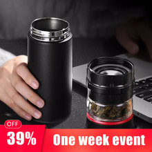 500ML Business Type keep Water Bottle Glass with Stainless Steel Tea Infuser Filter Double Wall Sport Tumbler