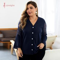 Aswinfon Plus Size Blouses for Women Autumn Knitted Large Size Top Long Sleeve V neck Button Up Tops Ladies