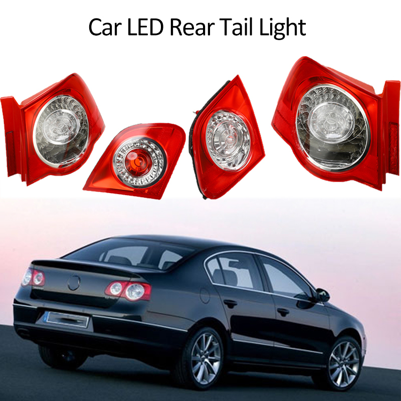 1 Pair Left Right Side Outer <font><b>LED</b></font> Rear Tail Light Car Brake Fog Lamp <font><b>DRL</b></font> <font><b>Turn</b></font> <font><b>Signal</b></font> For VW <font><b>Passat</b></font> <font><b>B6</b></font> Sendan 2006-2011 image