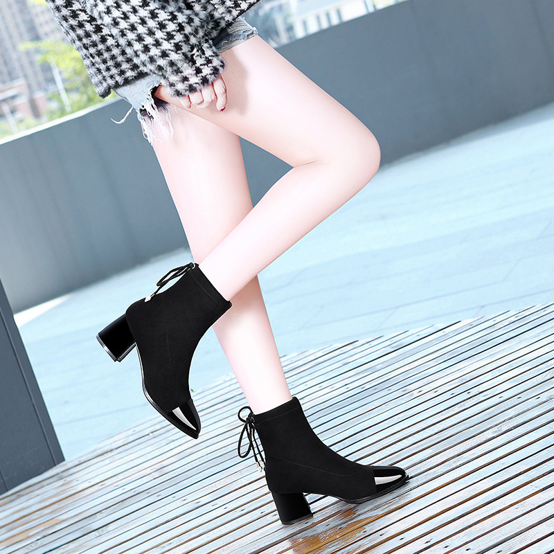 Lycra Kington Thigh Boot Children Bandage Cloth Boots 2019 Autumn & Winter New Style High Heels Boots WOMEN'S Shoes Thin Boots