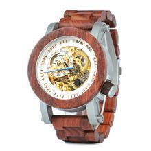 Bobo pássaro relógio mecânico automático dos homens clássico estilo luxo analógico de madeira com aço na caixa de madeira presente