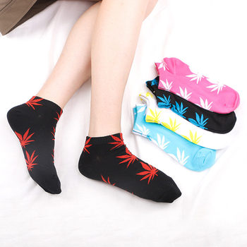Fashion New Arrival Men Socks Colorful Breathable Maple Leaf Comfortable Cotton Short Harajuku Gifts for