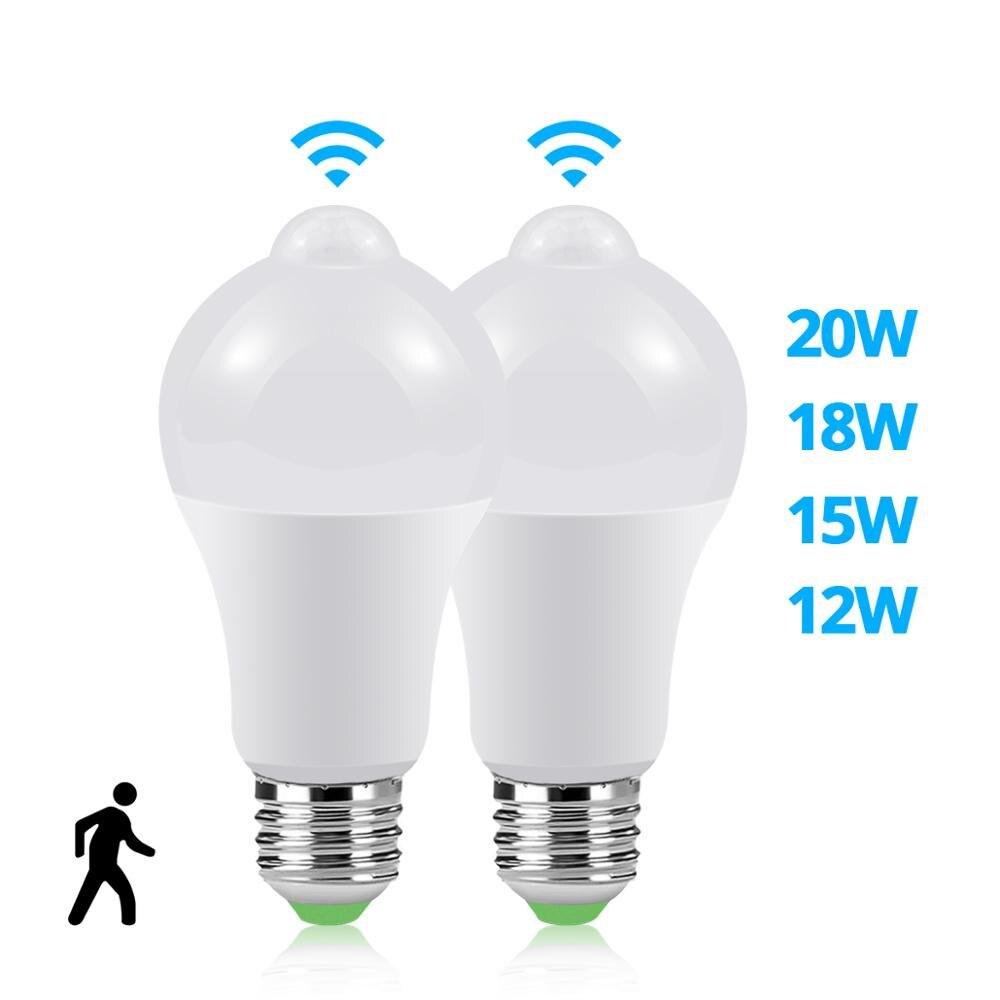110-220 В E27 Светодиодный светильник с датчиком движения, лампа для дома, улицы, туалета, ванной комнаты, лестницы, садовый светильник, теплый белый настенный светильник
