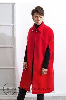 Winter cloak style long lapel shawl men's red festive retro cloak men's cloak sleeveless XS-6XL! Men and women windbreaker фото
