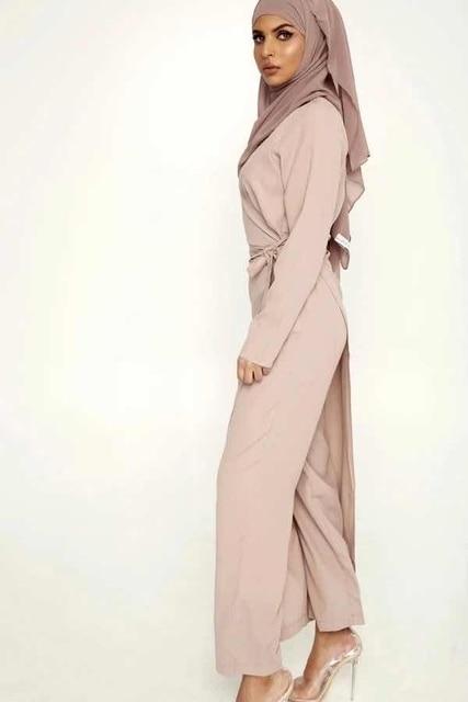 Фото абая для женщин дубай шифон мусульманский комплект комбинезон