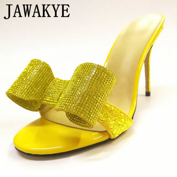 Summer Sexy Party Shoes Women Crystal Thin High heel Slippers Red Yellow Gold Transparent Bow butterfly knot  Big Size - discount item  40% OFF Women's Shoes