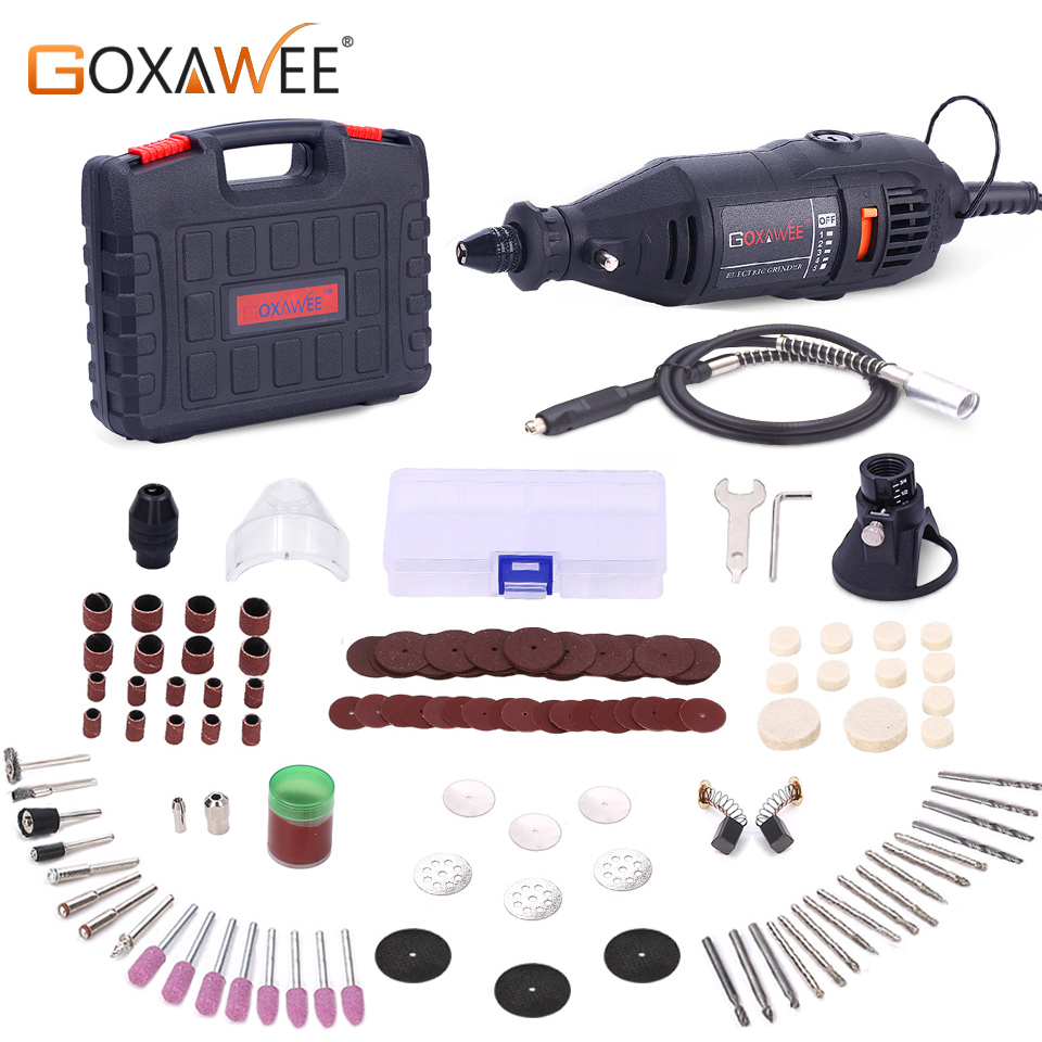 GOXAWEE 220V Electric Drill Engraver Mini Drill Dremel Engraver Rotary Tool Grinder Drilling Machine With Power Tool Accessories