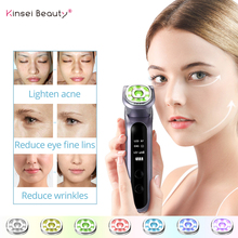 Ultrasound Vibration Facial Massager RF Beauty Device 7 Color Led Photon EMS Light Face Lifting Hot&Cold Facial Massager недорого