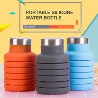 500 мл силиконовая бутылка для воды с крышкой из нержавеющей стали, складная кофейная бутылка, Открытый Дорожный питьевой складной спортивны...