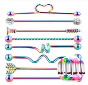 8pcs/Set Surgical Steel Arrow Expansion Industrial Barbell for Women Men Ear Cartilage Earring Helix-Conch Body Piercing Jewel