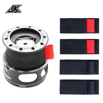 JK 4pcs/pack Black Elastic Fishing Spool Belt Fishing Reel Protection Belt Spinning Wheel Reel Accessories