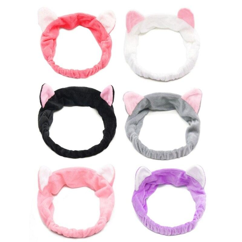 Cute Cat Ear Headband Women Hair Band Wash Shower Make Up Elastic Band On Head