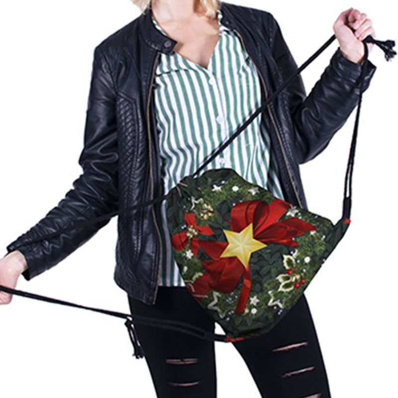 Women Christmas Backpack Drawstring Shopping Bags Travel Party Decoration C90E