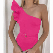 One Shoulder Swimsuit 2019 Neon Bathing Suits Pink Monokini Thong One Piece Swimsuits Backless Ruffle Flounce Belt Sexy Bodysuit flounce shoulder ribbed knit bodysuit