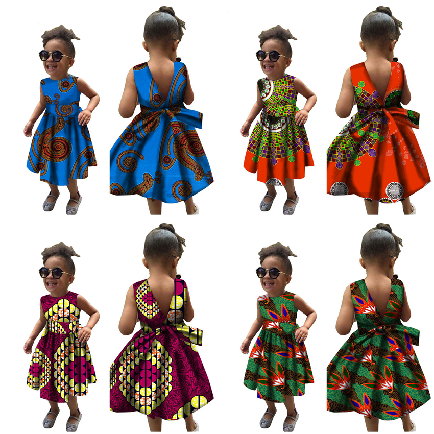 15Color African Dresses For Girls 2020 New Dashiki Print Rich Bazin Dress Summer Sleeveless Back Lace Africa Fashion Clothes